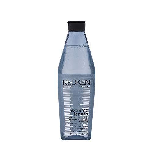 Redken Extreme Length Shampoo, Pflegeshampoo für länger werdendes Haar, gegen Spliss & Haarbruch, Haarpflege mit Biotin & Rizinusöl, Feuchtigkeitspflege für lange Haare, 300 ml