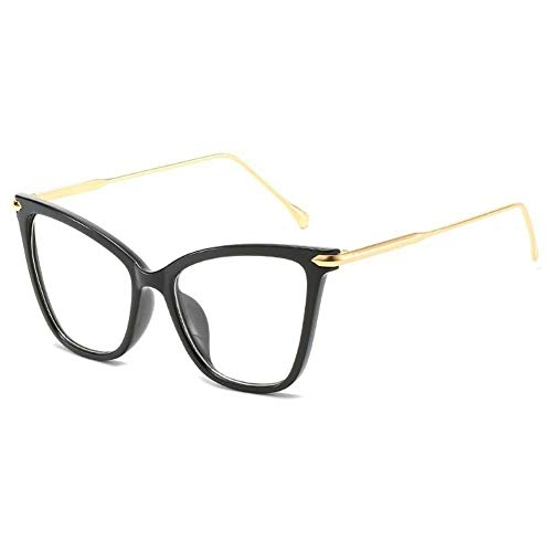 SHENY Occhiali da Sole per Donna Cat Eye Clear Montatura per Occhiali Occhiali da Vista in Lega Oversize Montatura per Occhiali di Marca Occhiali da Donna Trasparente Grandi tonalità Nero C