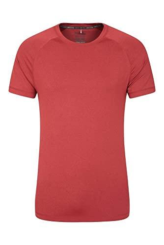 Mountain Warehouse Agra Camiseta mélange para Hombre - Ligera, cómoda, con Cuello Redondo, de Secado rápido y protección UV - para Viajar y Caminar Rojo XS