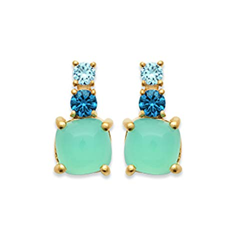 Tata Gisèle Stud Earrings 18 Carat Gold Plated Blue Agate Set with 2 Blue Cubic Zirconia - Velvet Bag Included