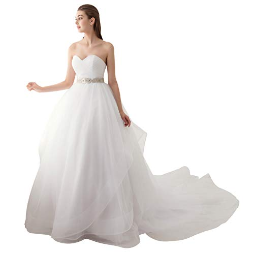 Ubridal Sweetheart Ball Gown Beading Sash Ruffles Tulle Wedding Dress Bridal Gown,White,18 Plus (Apparel)