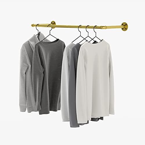 pamo Barra para ropa de diseño industrial Loft, toallero o perchero con montaje en pared o techo, en el baño o en el dormitorio de tubos estables en color dorado