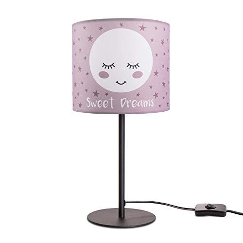 Paco Home Kinderlampe LED Tischlampe Kinderzimmer Lampe mit Mond-Motiv, Tischleuchte E14, Lampenfuß:Schwarz, Lampenschirm:Pink (Ø18 cm)