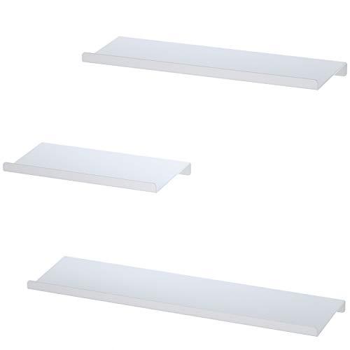 SRIWATANA Schweberegale Set Wandmontierte Metallregale Platzsparendes Regal bis 15 kg, Regale 3er Set weiß