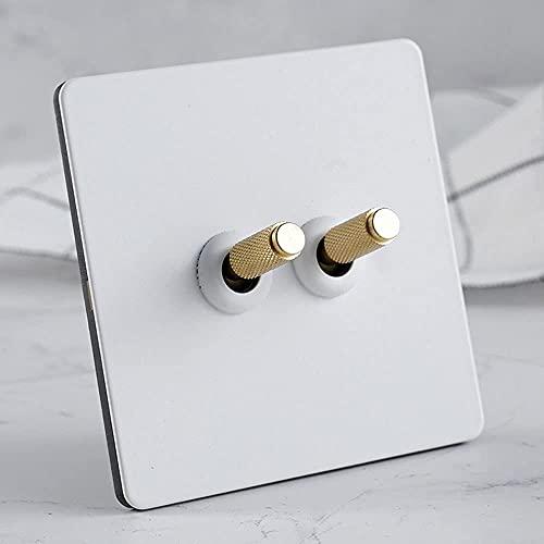 Foicags Blanco retro moleteado interruptor de alterno Moneen 86 Tipo Interruptor de mejora de la casa Pintura de acero inoxidable Panel de interruptor de dial de mano 1-4 Gang 2 Way Lámpara de doble c
