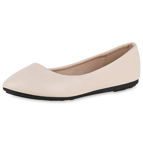 SCARPE VITA Damen Klassische Ballerinas Leder-Optik Slipper Slip On Flats 175358 Creme Schwarz 38