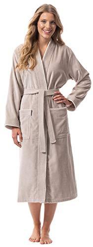 Morgenstern Bademantel für Damen aus Bio Baumwolle ohne Kapuze in Sand Bade Mantel wadenlang Damen Bademantel Frottee Größe L Lotte