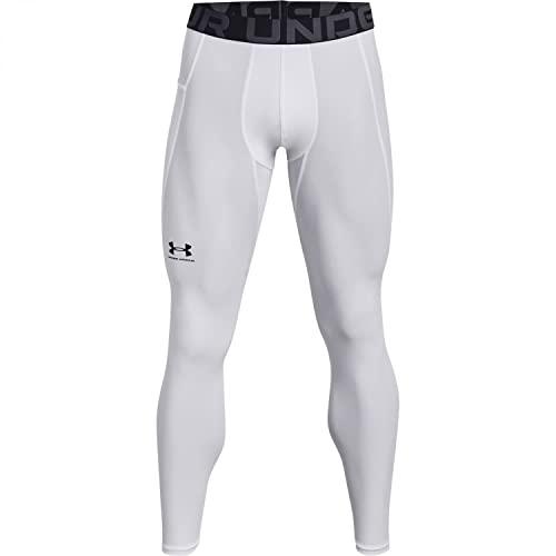 Under Armour UA HG Armour Leggings Sportivi, White/Black, L Uomo