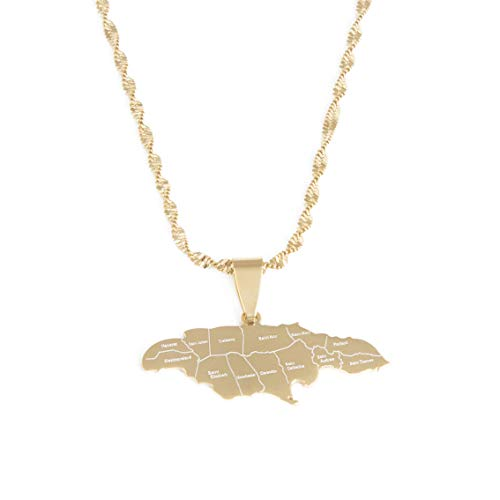 BR Gold Jewelry Stainless Steel Jamaica Map with City Pendant Necklace for Women Girls Jamaica Maps Chain