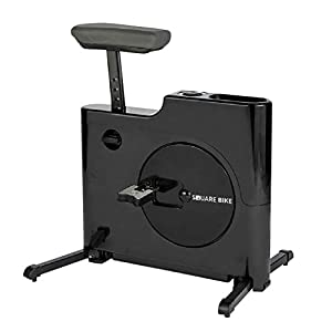 Daiwa Felicity Home Office Compact Foldable Under Desk Exercise Bike Standing Desk Exercise Bike Height Adjustable Cycle Square Bike (Black)
