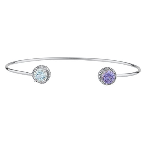 Elizabeth Jewelry Genuine Aquamarine & CZ Amethyst Diamond Bangle Round Bracelet .925 Sterling Silver Rhodium Finish