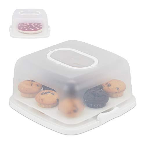Relaxdays Contenitore per Torte, Quadrato, Trasportabile, Dolci Muffin, Lavabile, HLP 16x34x32,5 cm, Bianco/Trasparente