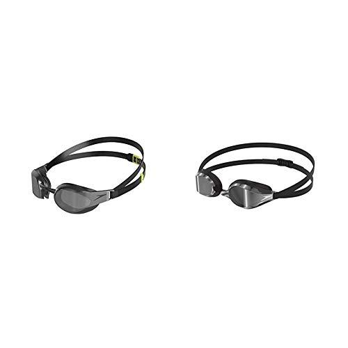 Speedo Fastskin Elite Mirror Gafas de Natación, Unisex Adulto, Negra/Gris, Talla Única + Fastskin socket 2 Mirror
