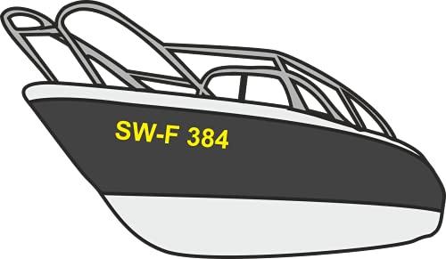 Don Cappello Bootsnummer Bootskennzeichen Kennzeichen Amtliche anerkannte Kennzeichnung für Boote Schwarz 2 Stück