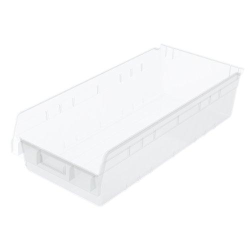Akro-Mils 30014 Plastic Nesting ShelfMax Storage Bin Box 24-Inch x 11-Inch x 6-Inch Clear 6-Pack 30014SCLAR