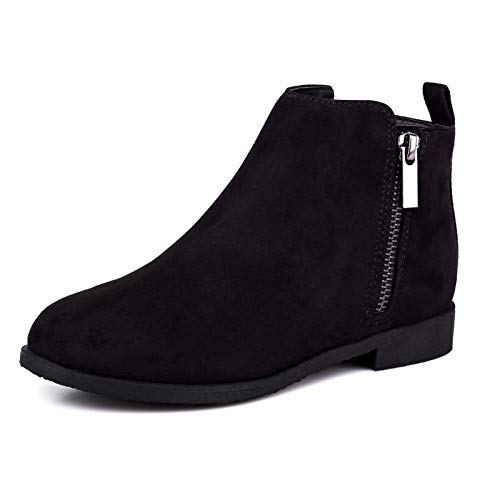 Dziewczęce buty dziecięce botki zamek błyskawiczny buty szkolne eleganckie duże dziecko moda zimowe buty z zamkiem błyskawicznym krótkie płaskie buty dla juniorów/dla młodszych, - Czarny - 32 EU