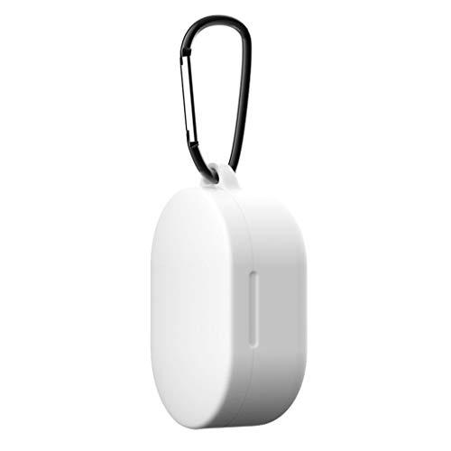 Silikon Hülle Kompatibel mit Xiaomi Redmi Airdots Bluetooth kopfhörer Schutzhülle, Allround Abdeckung Gehäuse mit Karabiner für Xiaomi Redmi Airdots Bluetooth kopfhörer Ladecase Cover (A)