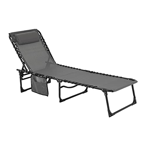 MUPATER 4-Fold Patio Chaise Lounge Chair for Outdoor with Detachable Pocket and Pillow, Portable Sun Lounger Recliner for Beach, Camping and Pool, Grey