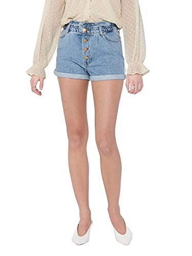 Only Onlcuba Life Paperbag Dnm Shorts Dot005 Pantalones Cortos  Medium Blue Denim  S para Mujer