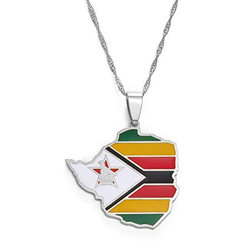 Mapa De Zimbabwe Bandera Collares Pendientes Plata Para Mujeres Niñas Acero Inoxidable Zimbabwe Mapas Cadenas Longitud: 60Cm