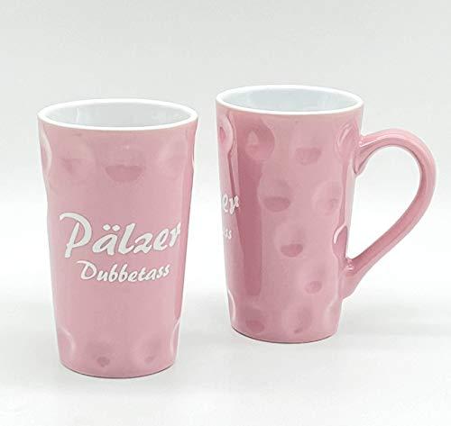 1 x Pfälzer Dubbetasse 0,2 Liter (rosa) - mit Aufdruck Pälzer Dubbetass - für Kaffee, Tee, Glühwein