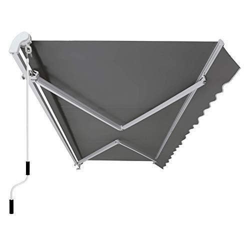 SONGMICS Gelenkarmmarkise 300 cm, Markise mit Kurbel, Sonnenschutz, Anti-UV und wasserfest, grau, 295 x 250 cm, GRA30GY