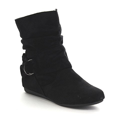 Beston Forever Selena-58 Women's Fashion Mid Calf Flat Heel Side Zipper Slouch Boots Black 7