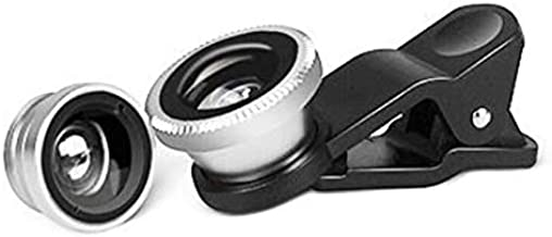 Phone Camera 3 in 1 Lens Attachment Kit | 180 Degrees Fish Eye Lens | 0.67x Wide Angle | Macro Lens | iPhone Samsung Galaxy Smartphone Compatible | (Silver)