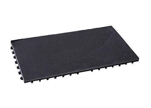 BodenMax LLSLA001-BLK-3060-YP Baldosa de Pizarra para terraza, jardines, balcones, piscinas, saunas, interiores y exteriores. Pizarra de antracita. Muestra de baldosa pizarra de 30 cm x 60 cm x 2,5 cm