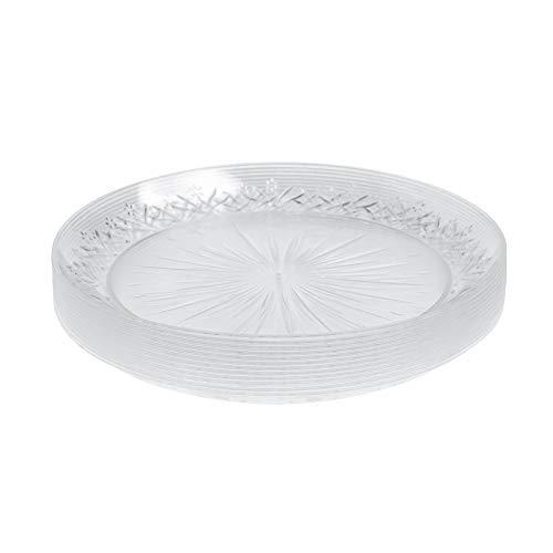 Paquete de 24 platos de plástico duro transparente ~ 18 cm (7 pulgadas) ~ elegantes platos de ensalada de fiesta, desechables, reutilizables, ideales para fiestas, bodas, eventos de catering y Navidad