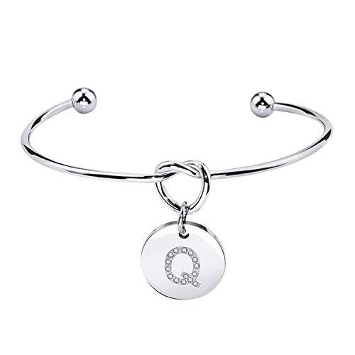 Pulsera Brazalete, Joyeria Regalo, Stainless Steel Cuff Bangle Bracelet Bridesmaid Knot Initial Bracelet For Women Girlfriend Sisters Alphabet Letter Jewelry Gift Q