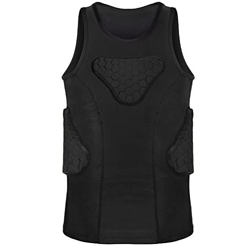 TUOY Camiseta de compresión acolchada para jóvenes, protector de costillas, para fútbol, béisbol, baloncesto, voleibol, lacrosse