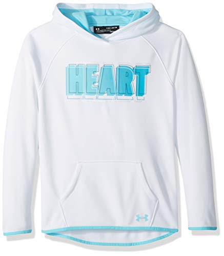 Under Armour Girls Armour Fleece Heart Verbiage Hoodie, White (100)/Venetian Blue, Youth X-Large