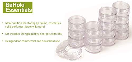 50 PC Cosmétique conteneurs avec couvercles Store Paupières, Baume à lèvres, lotion et bien plus encore 5 ml Plastique Transparent bocaux Bahoki Essentials