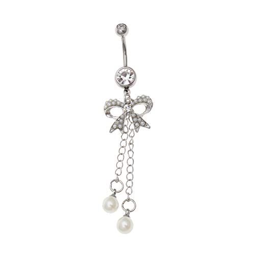 Pixnor Ring für Bauchnabelpiercing, Motiv: Bow Perle, Weiß