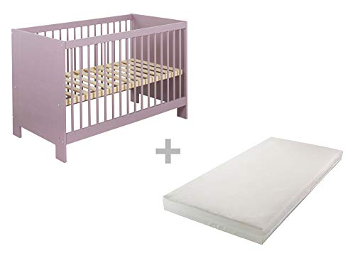 BioKinder 24843 economy set Niklas zijbed kinderbedje met matras van massief hout grenen 60 x 120 cm lila beglaasd