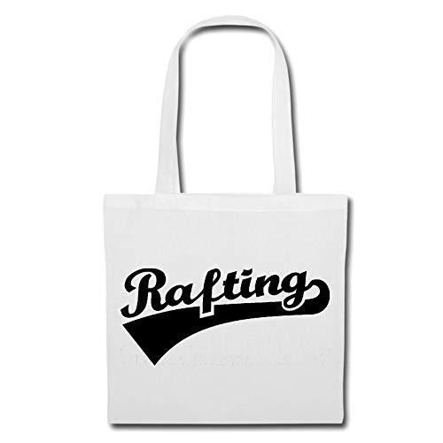 Tasche Umhängetasche Rafting - WILDWASSER - SCHLAUCHBOOT - Rafting AUSRÜSTUNG - Rafting Tour Einkaufstasche Schulbeutel Turnbeutel in Weiß