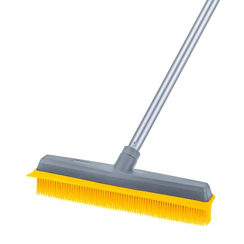 Dog Hair Remover Broom Rubber Broom Build-in Squeegee,Pet Hair Broom Carpet Rake with 50 inches Long Handle Brush for Sweeping Hardwood Floor Tile Windows