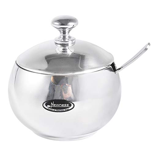 Newness Stainless Steel Sugar Bowl with Lid and Sugar Spoon for Home Drum Shape 90 Ounces270 Milliliter
