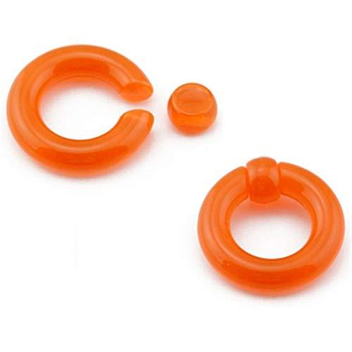 CHENGTAO 1 Par Grande De Acrílico De Oído del Anillo Gigante Túnel del Enchufe Macho del Ampliador del Anillo De Nariz Piercing (Main Stone Color : 5mm(4g), Metal Color : Orange)
