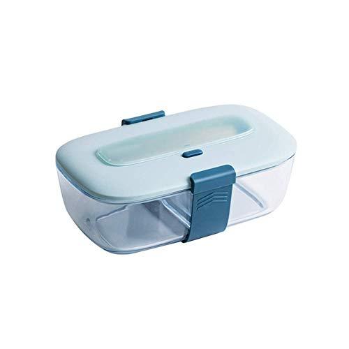 Recipientes de almuerzo para niños con 2 compartimentos, caja de vidrio Bento a prueba de fugas de alimentos, válvula de vacío con divisor y accesorios (color: D)