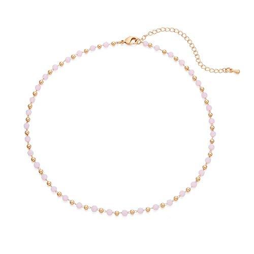 Ouran, Collana girocollo da donna, multicolore con ciondolo a catena lunga, ideale come regalo per ragazze, mamma, amiche e Lega, colore: Perline rosa., cod. XL-0724