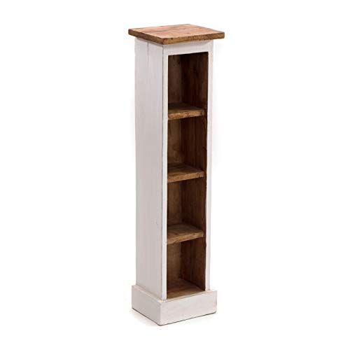 DESIGN DELIGHTS RUSTIKALES Holz CD Regal CD Tower | Mahagoni Massivholz, 76x15,5x16cm (HxBxT) | Holzregal mit 4 Fächern, CD Aufbewahrung | Farbe: 06 weiß-Landhaus