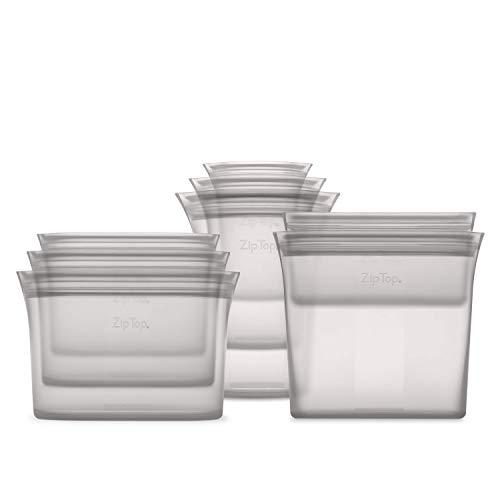 Behälter mit Reißverschluss, wiederverwendbar, 100 % Platin-Silikon Full Set of 8 grau