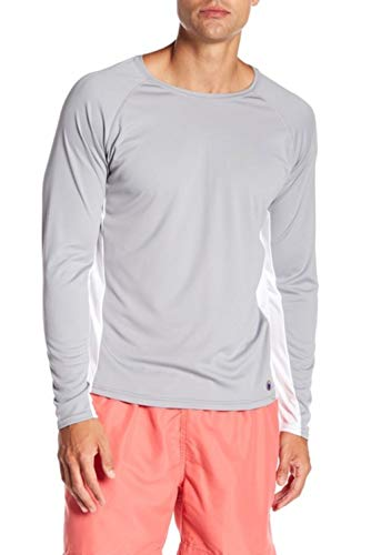 Beach Bros. Men's UPF 50+ Swim Shirt - Long Sleeve Quick Dry Rashguard - Grey/White Color Block Panel, Medium