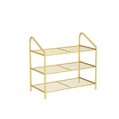 LYLY Zapatero moderno y simple de hierro para zapatos, estante de zapatos multicapa, organizador de zapatos para dormitorio, puerta de dormitorio (color: dorado, tamaño: 3 niveles)