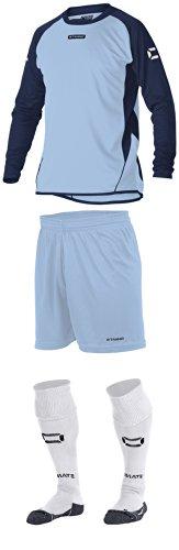 Stanno Porto–Sky/Navy Long Sleeve Fußball, Shirts, Shorts, Socken, Blau