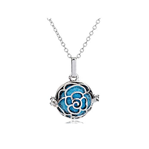 yichahu Aromatherapy Jewelry Antique Rose Flower Hollow Cage Locket Chime Ball Bell Pendant Essential Oil Spread Necklace