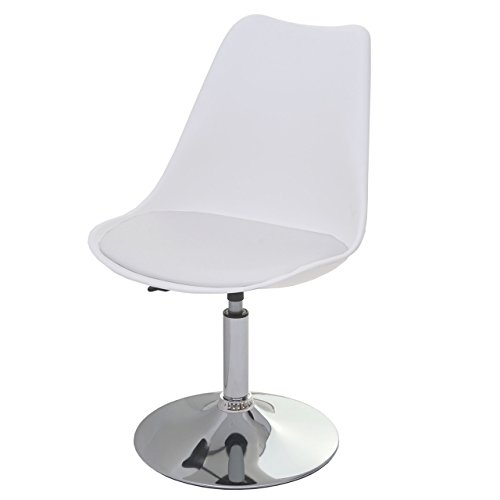 Mendler Drehstuhl Malmö T501, Stuhl Küchenstuhl, höhenverstellbar, Kunstleder - weiß, Chromfuß