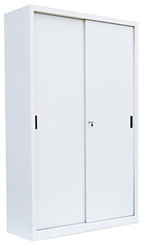 Großer Schiebetürenschrank Schiebetüren Büro Aktenschrank Sideboard aus Stahl Signalweiß 1950 x 1200 x 450 mm (H x B x T) 550167 kompl. montiert und verschweißt